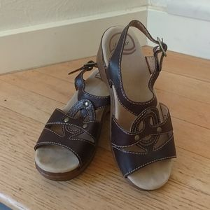 Dansko Brown Leather Open Toe Sandals 36